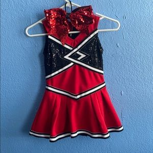 Weissman cheerleading costume with cheer bow